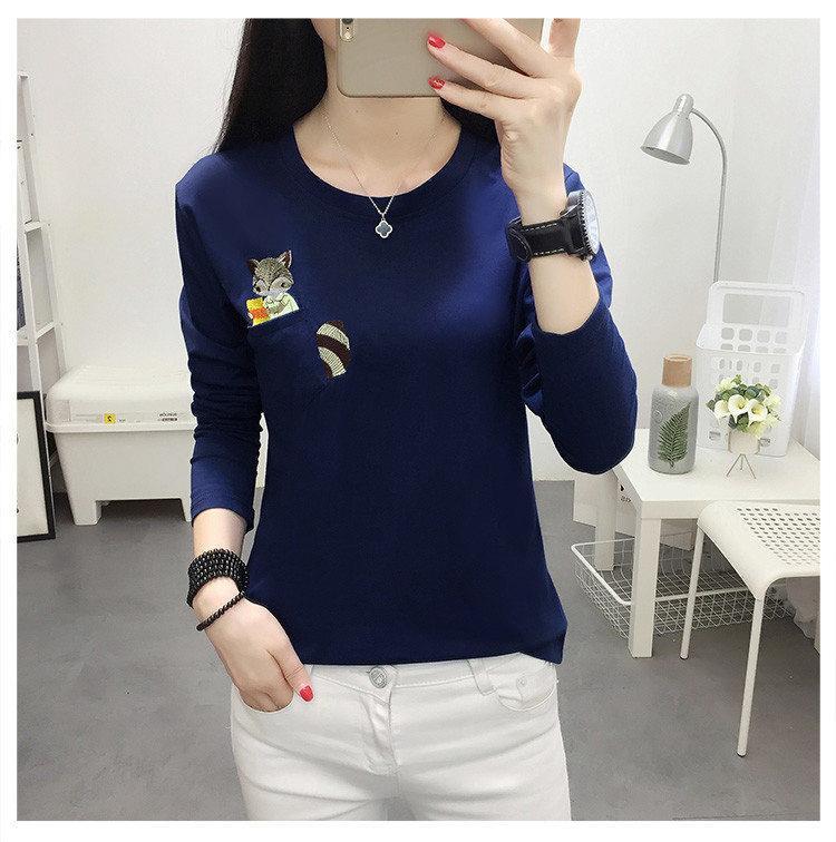 Embroidery T-shirts Women Tshirt O-neck Long Sleeve T-shirts Women Autumn Tops Tee Shirt Femme 2019 Cotton Camisetas Large Size (10)