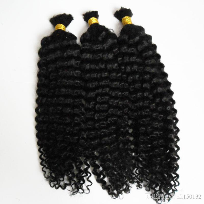 """7A Grade 3 PCS Cheveux Brésiliens Tressage Cheveux Pour Tressage En Vrac Sans Attachement Tressage Humain Cheveux En Vrac 300g Afro Crépus Bouclés 18-24 """""""