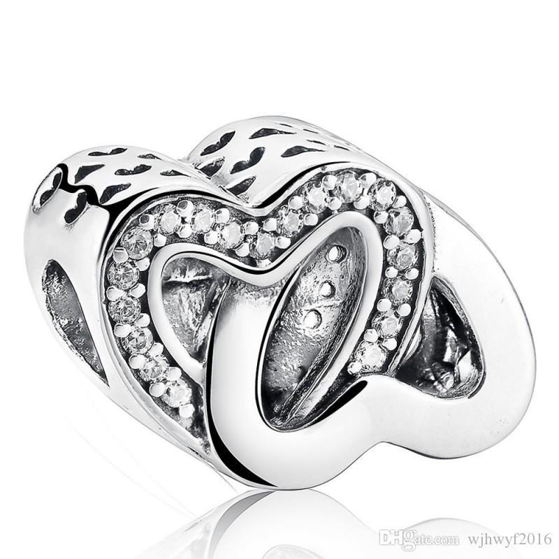 Neue 100% 925-sterling-silber Pave Kristall Entführung Liebe ineinandergreifend Herzen Charme Perle für Schmuckherstellung DIY Brand Armbänder