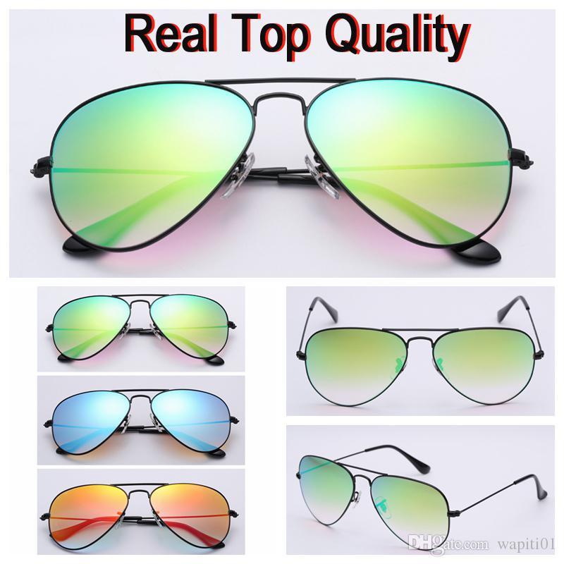 أعلى جودة العلامة التجارية النظارات الشمسية الطيار الطيران الألوان الجديدة نظارات uv400 عدسة حقيقية لرجل امرأة 58mm مع الحزم الأصلية ، والاكسسوارات مجانا
