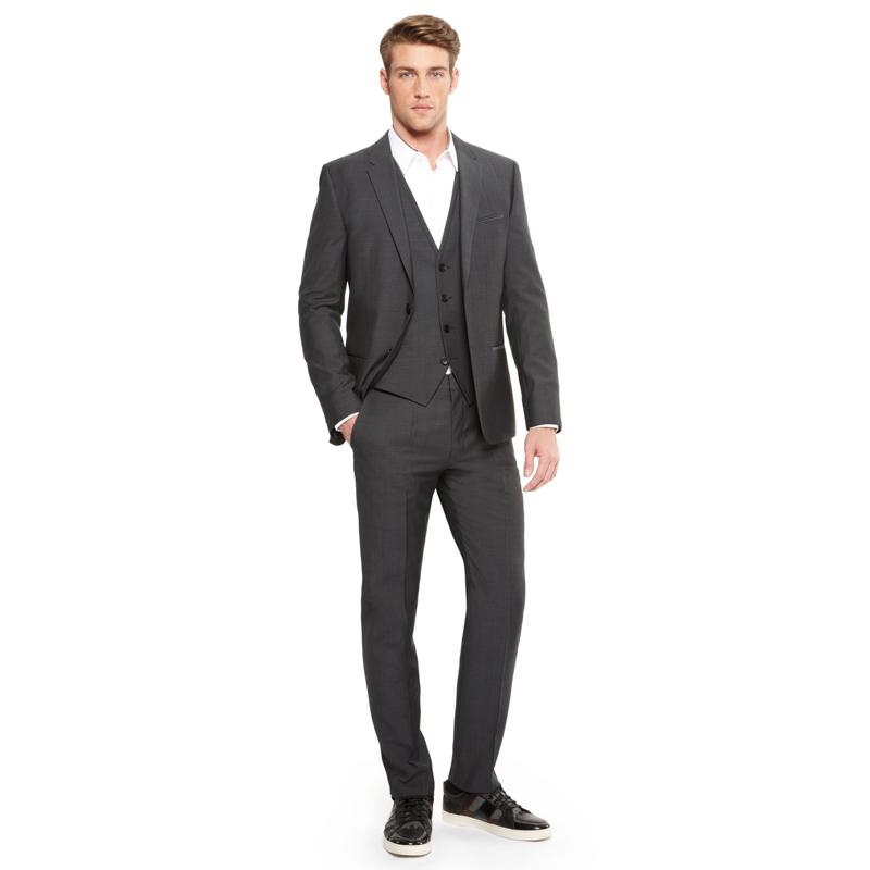 Formal Business Grey Men Suit Wedding Man Blazer Jacket Vest Pants Slim Fit Groom Tuxedos Bridegroom Suit 3 Piece Prom Wear Costume Homme