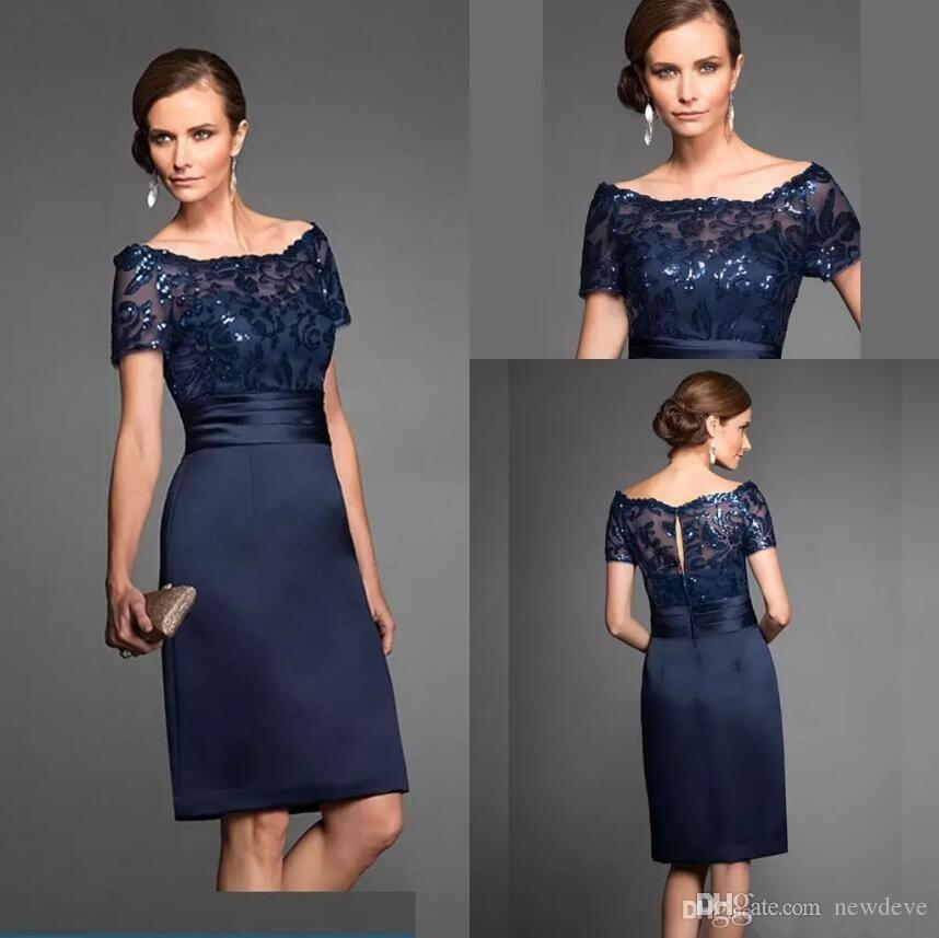 Navy Blue Mother Of The Bride Dresses Elegant High Quality Knee Length Short Wedding Party Gown Formal Evening Gowns Mother's Dresses