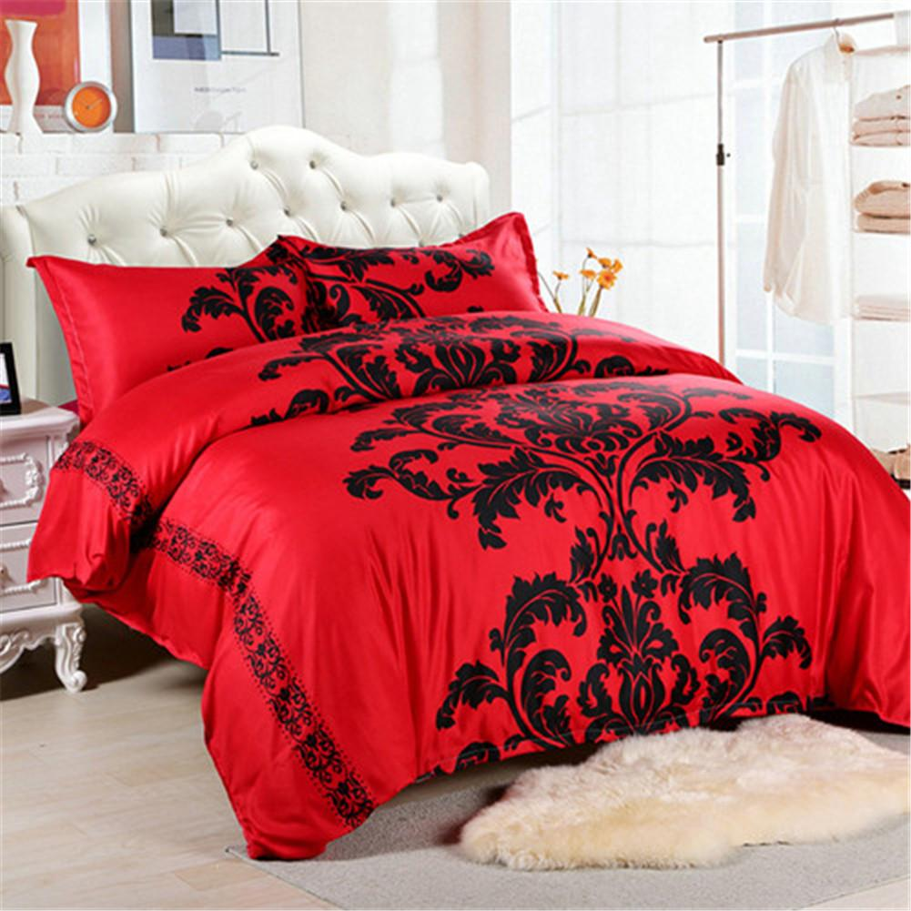 Сади Красный комплект постельных принадлежностей Double / Queen Size Перья пододеяльник Белый Bed Set Красивые 3шт Постельное бельё
