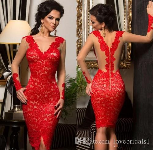 2018 New Sexy Short Red Lace Applique Celebrity Cocktail Dress With Illusion Long Sleeve Homecoming Dress Custom Made Cocktail Dresses Melbourne