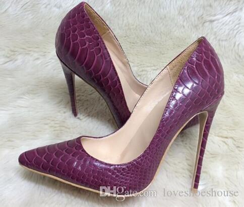 Zapatos de color púrpura Zapatos de mujer de tacón alto Sexy Design 12 CM Zapatos de tacón alto Zapatos de novia de color rojo Piedra Stilettos