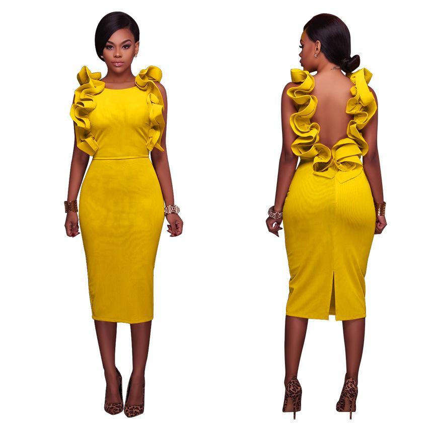 ruffle backless dress