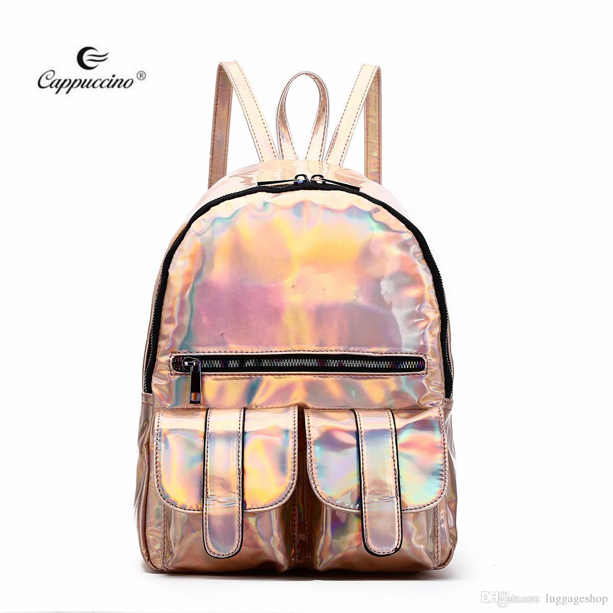 9105fc4929 2019 new trendy bag Cappuccino new products Hologram Dual Pocket Backpack  with Rainbow Zipper