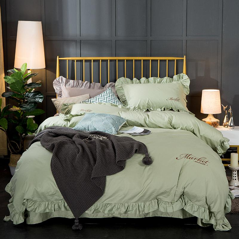 شحن مجاني 100 ٪ قطن 4 قطع كامل الملكة الملك الحجم ورقة السرير مجموعة الكورية الكشكشة المطرزة الأميرة الدانتيل مجموعة مفروشات السيد