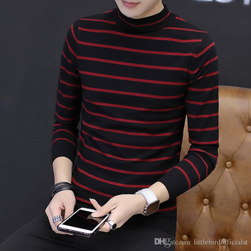 1Pcs Striped Sweater NEW Fashion Herren Pullover Rundhals Pullover