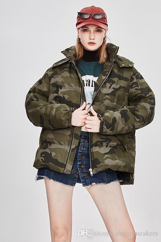 INS мода улица зимние пальто женщин камуфляж пуховик молния сафари стиль с капюшоном дамы короткие толстые парки
