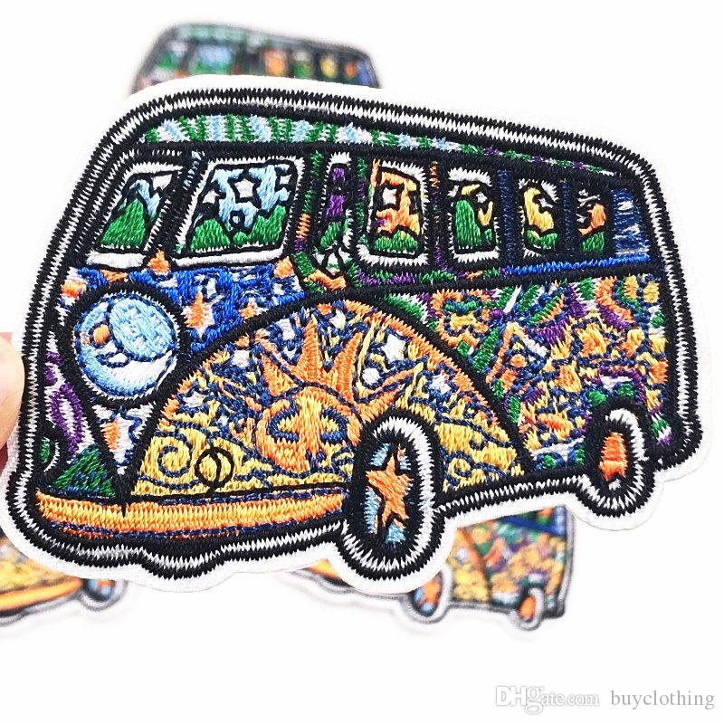 Bus Embroidered Patch for Clothing Iron on Sew Applique Cute Fabric Clothes Shoes Bags Decoration Patches