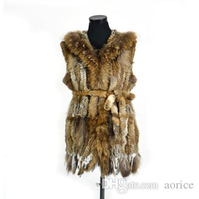 Pudi VR061 Hakiki tavşan kürk uzun yelek kadın kızlar ile sıcak gerçek kürk siyah beyaz kahverengi ceket rakun kürk yaka artı boyutu