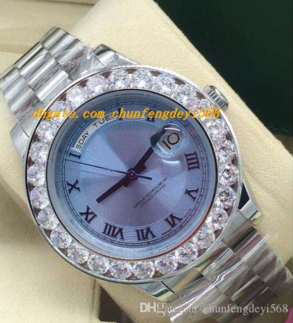 Luksusowe zegarki II Platinum 44mm Ice Blue Concentric Roman Dial Diamond Bezel 218206 Automatyczne mody męskie zegarek zegarkowy