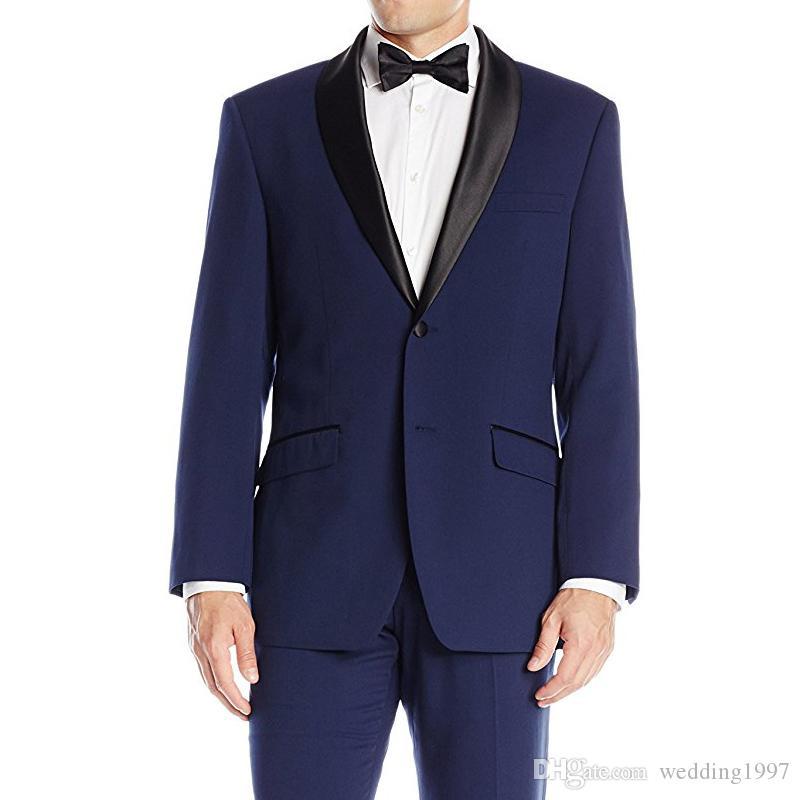Azul marino Boda Padrinos de boda Trajes de esmoquin 2018 Últimas Negro solapa del mantón Un botón Dos piezas Hombres trajes Chaqueta Pantalones