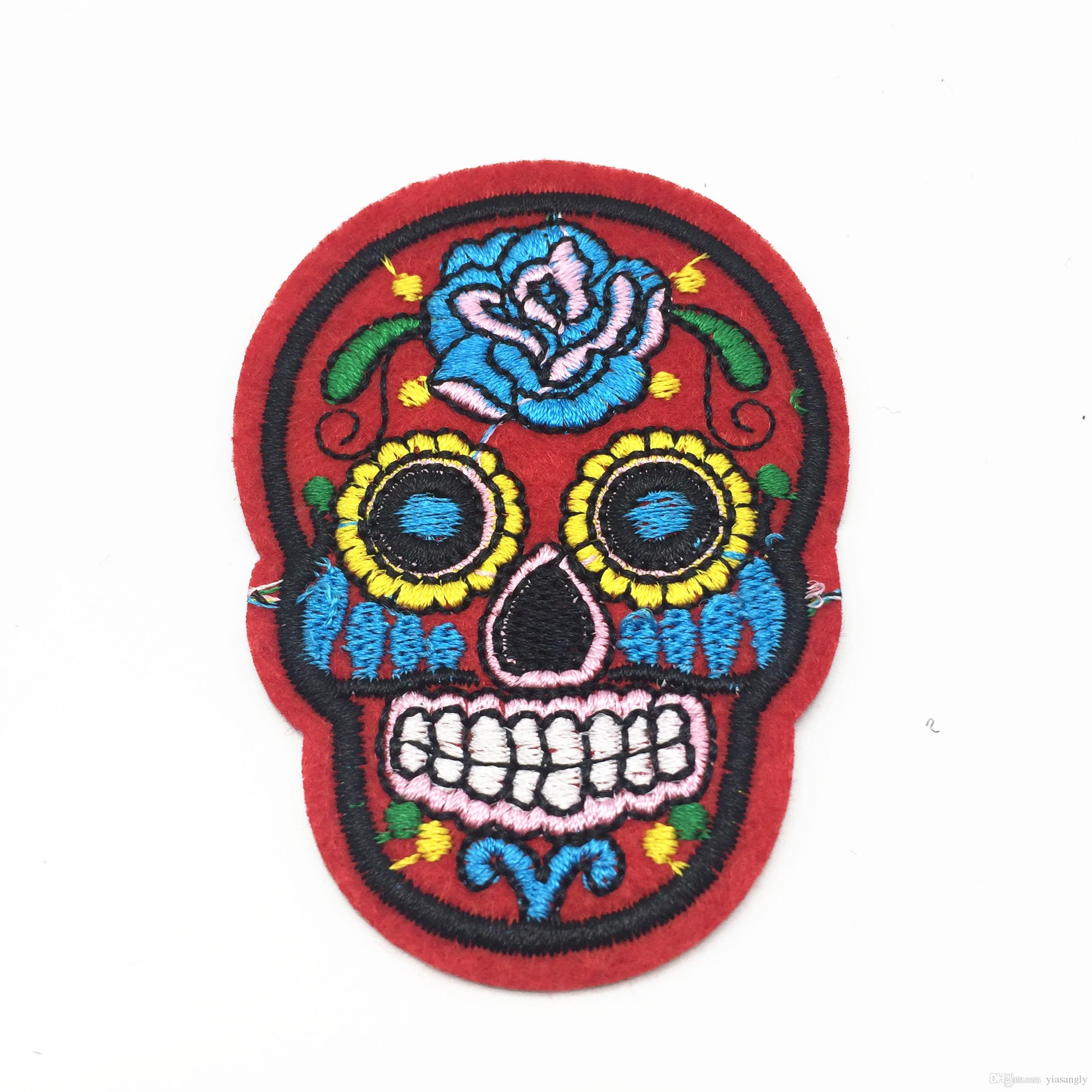 20pcs Red Skull Patch DIY Skeleton Embroidered Patches Iron On Fabric Badges Sewing On Cloth Stickers