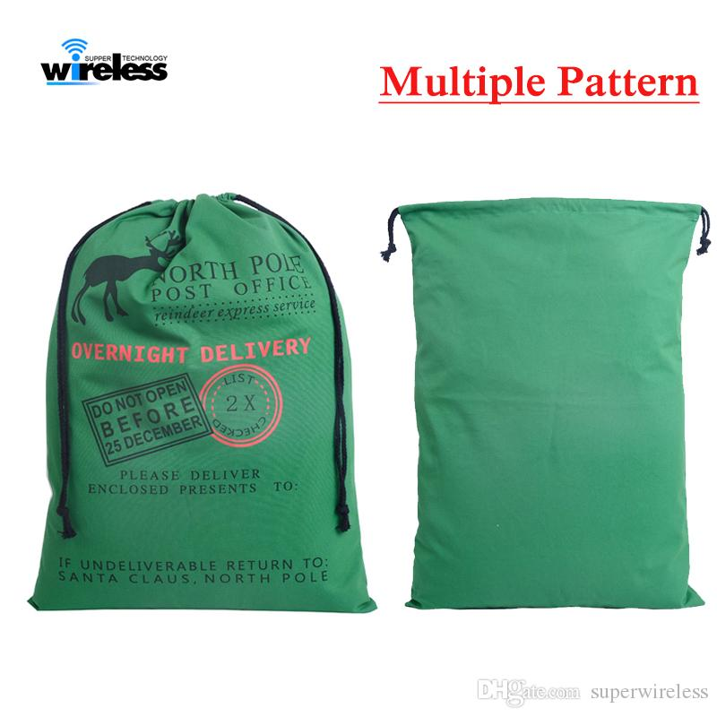 Presente de Natal Bolsas grande e pesado Organic Bolsa de Santa Sack Drawstring Bag com renas Saco de Papai Noel Bolsas para crianças