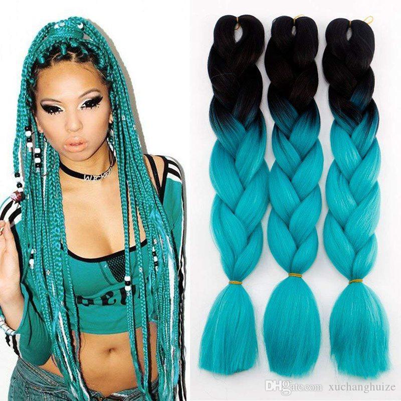 Cheap Price Ombre Kanekalon Jumbo Synthetic Braiding hair 24inch 100g Black To Auburn Brown Red Two Tone Colors Jumbo Braids Hair Bulk