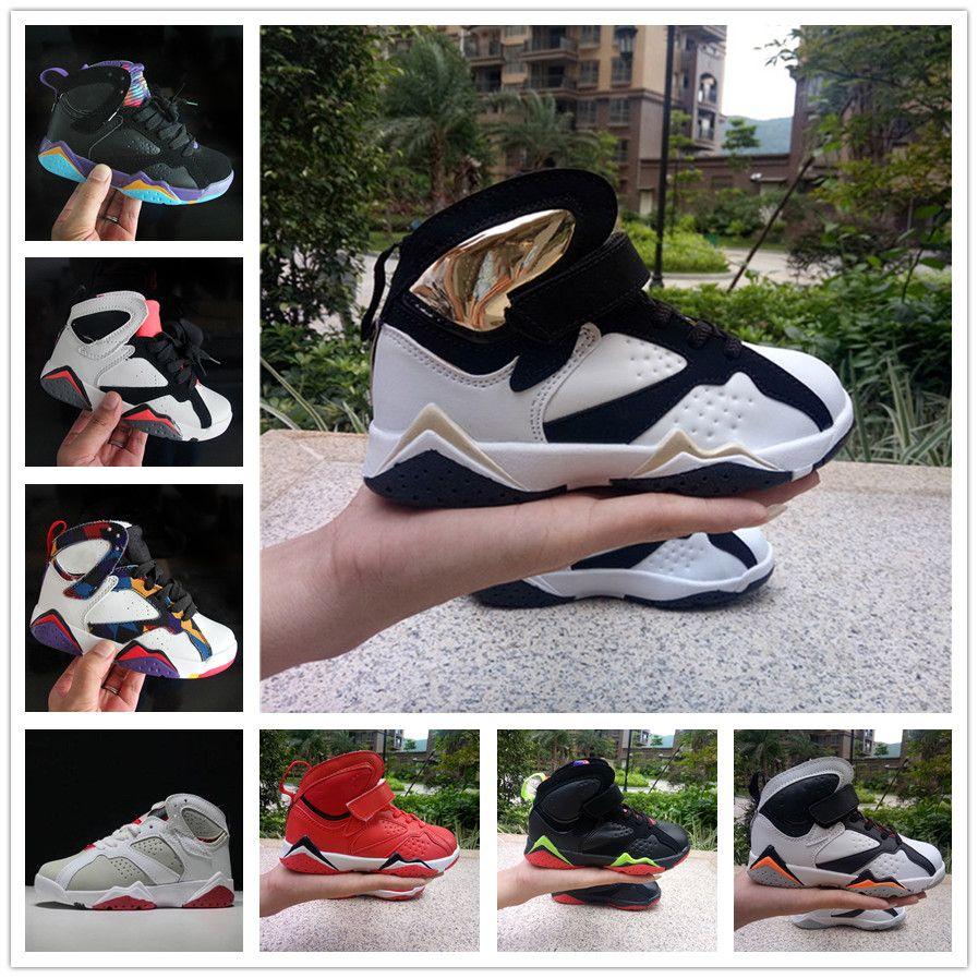 nike air jordan aj7 Vente en ligne pas cher Nouveau 7 enfants chaussures de basket pour les garçons filles espadrilles enfants Babys 7s chaussure de course taille 11c-3y