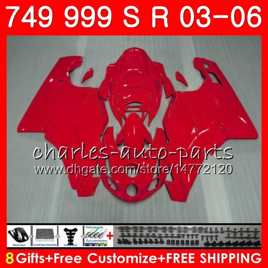 ALL Gloss red Body For DUCATI 749-999 749S 999S 749 999 03 04 05 06 Bodywork 105HM.25 749 S 999 R 749R 999R 2003 2004 2005 2006 Fairing kit