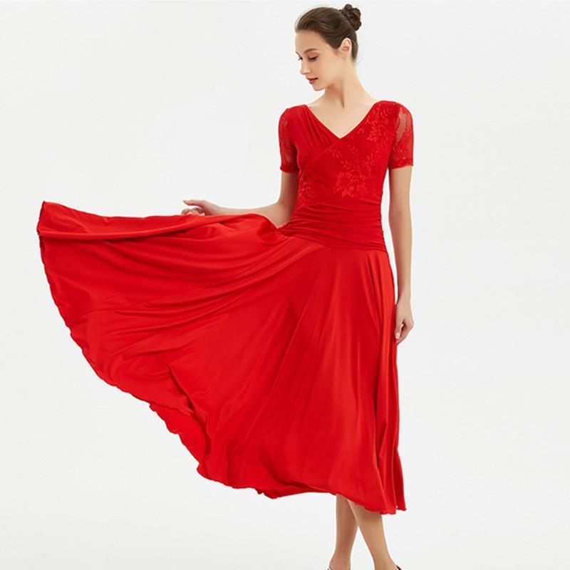 أحمر قياسي قاعة اللباس النساء اللباس الاجتماعي الأسبانية الفلامنكو foxtrot الفالس فساتين الرقص ارتداء ازياء الرقص الحديث