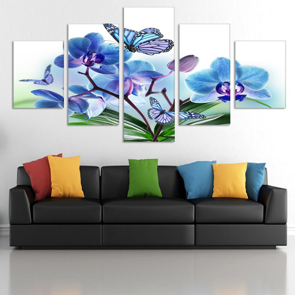 2017 Special Offer New Modern Free Shipping 5 Panels/set Hd Flowers Canvas Print Painting Artwork Wall Art Picture Rolled Cheap