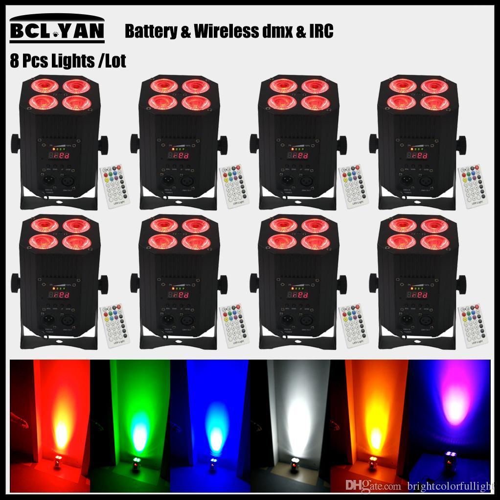 DJ lighting 8 pack DMX Wireless Battery Powered LED Par Light uplights RGBWA UV 6 IN 1 Quad Color Wash DJ