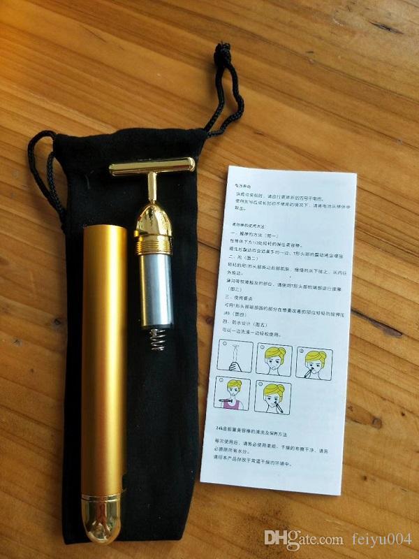 الطاقة الجمال بار 24K الذهب نبض لشد مدلك أسطوانة الوجه مدلك ديرما العناية بالبشرة علاج التجاعيد مساج الوجه مع صندوق 0609005
