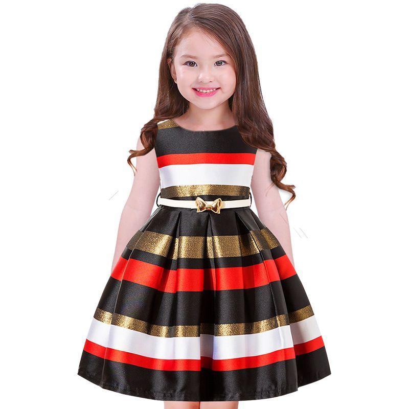 Compre 2018 Verano Nuevos Vestidos De Rayas Para Niñas Con Fajas Vestido De Fiesta De La Noche Niñas Princesa Vestido De Bola Vestidos De Moda Para