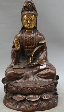 Bi003502 14 Budismo Chinês Bronze Assento De Ouro Kwan-yin Guan Yin Deusa Ru Yi Estátua