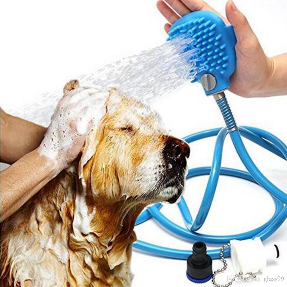 Pet doccia spruzzatore Pet Bathing attrezzo multifunzionale Bagno tubo flessibile dello spruzzatore e Scrubber in One, Cane bagno governare del gatto per massaggi