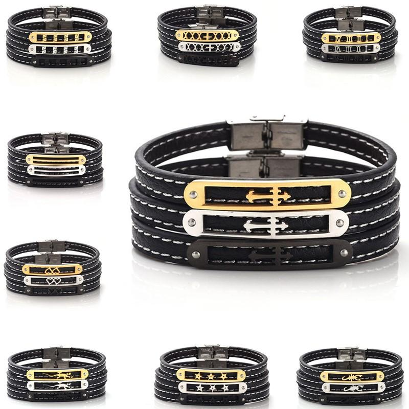 Unisex Genuine Leather Stainless Steel Bracelet Heart Star Cross Hollowed-out Wristband Lovers Bangle Jewelry For Gift