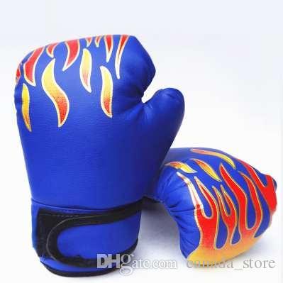 Professional Kids Children Flame Boxing Gloves Punch For Boy Beginner Sanda Sparring Training Mitts Protector