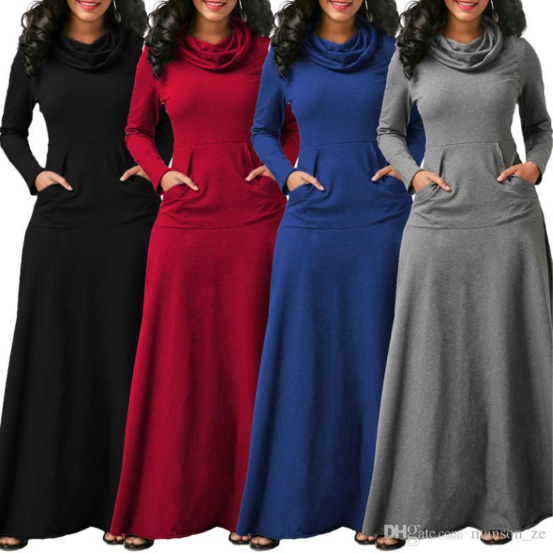 Elbise 2018 sonbahar elbise büyük boy zarif uzun kollu maksi elbise kadın ofis iş elbiseleri artı boyutu kadın giyim kış sıcak uzun elbise
