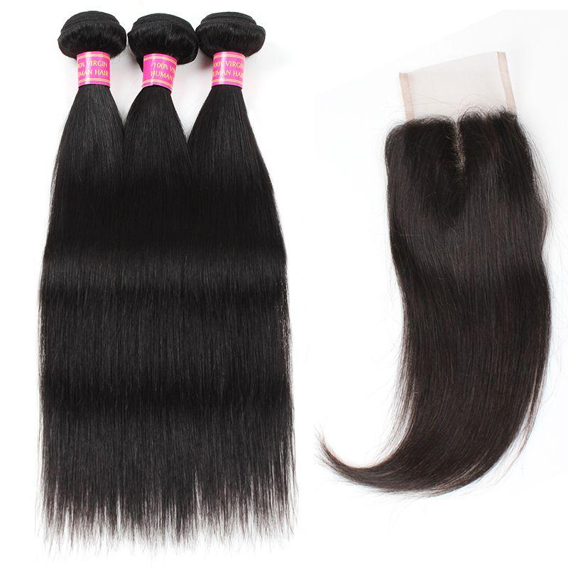 MEETU EXTENSIONES MAYORES 8A MINK BRASILIANDO PERIURICO MALAYSIAN VIRGEN RECTORIO 3 Paquetes de cabello humano con 4 * 4 Cierre de encaje para mujeres Todas las edades 8-28 pulgadas Jet Black