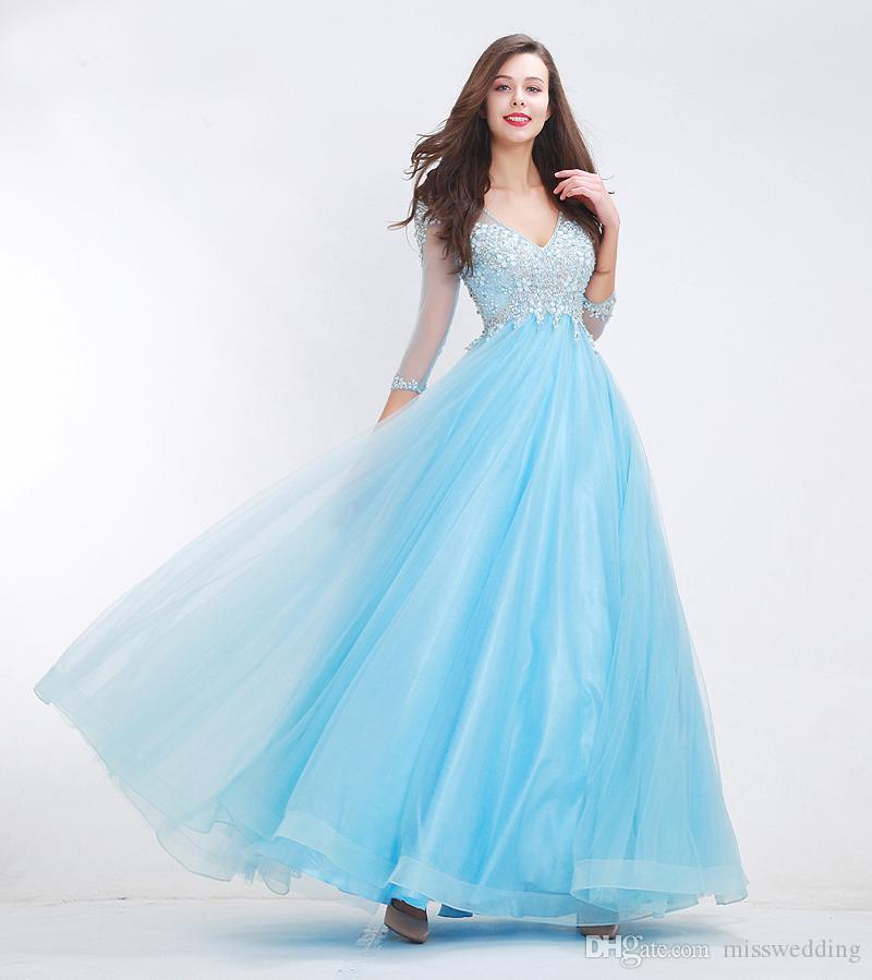 New Style Ball Gown Baby Blue Tulle Dress Evening Fashion Ladies Elegant Style Beaded Bodice Evening Gown