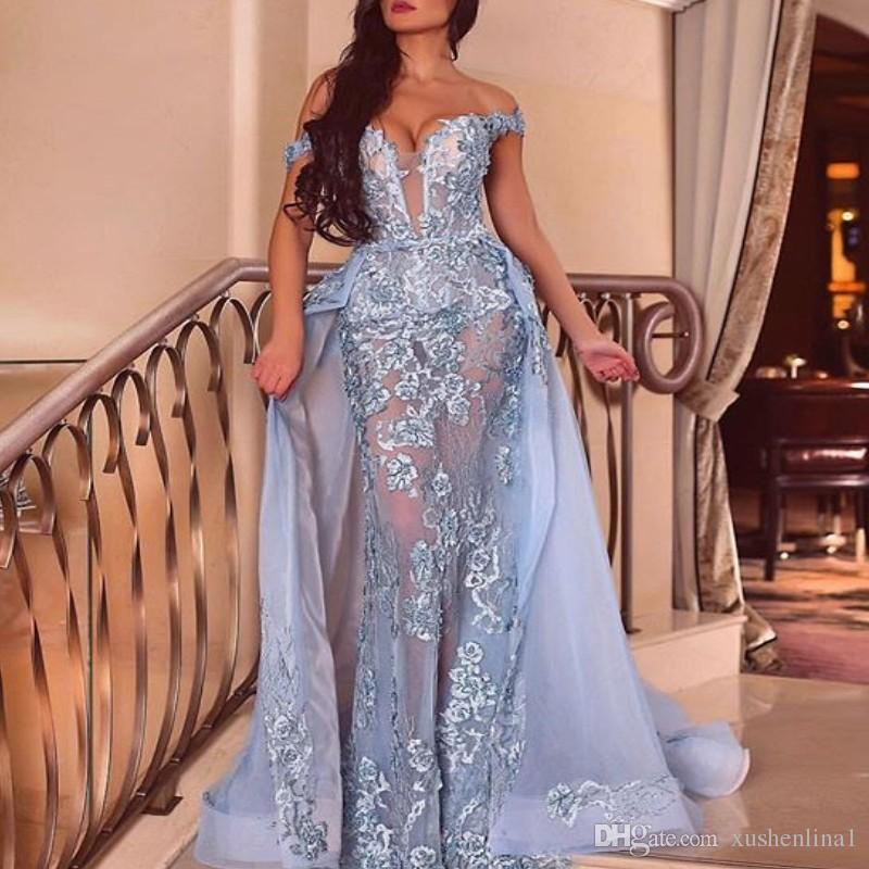 2018 Dubai sirena sexy vestido de fiesta con la sobrefalda de hombro sin mangas de encaje apliques vestidos de fiesta de la manera desmontable vestido de noche formal
