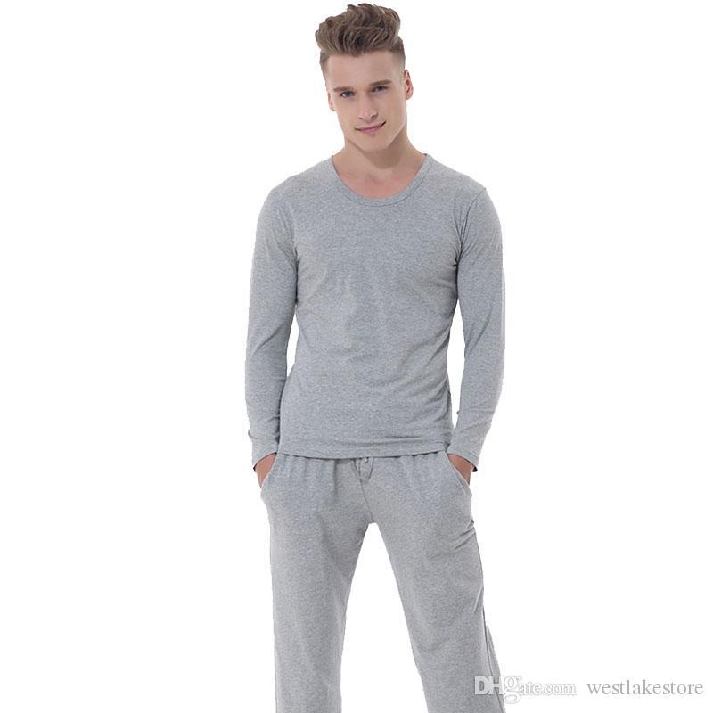 Pijamas de los hombres de algodón elástico fino ropa de dormir ropa de casa casual Homme pijamas conjuntos de ropa de dormir otoño invierno de manga larga