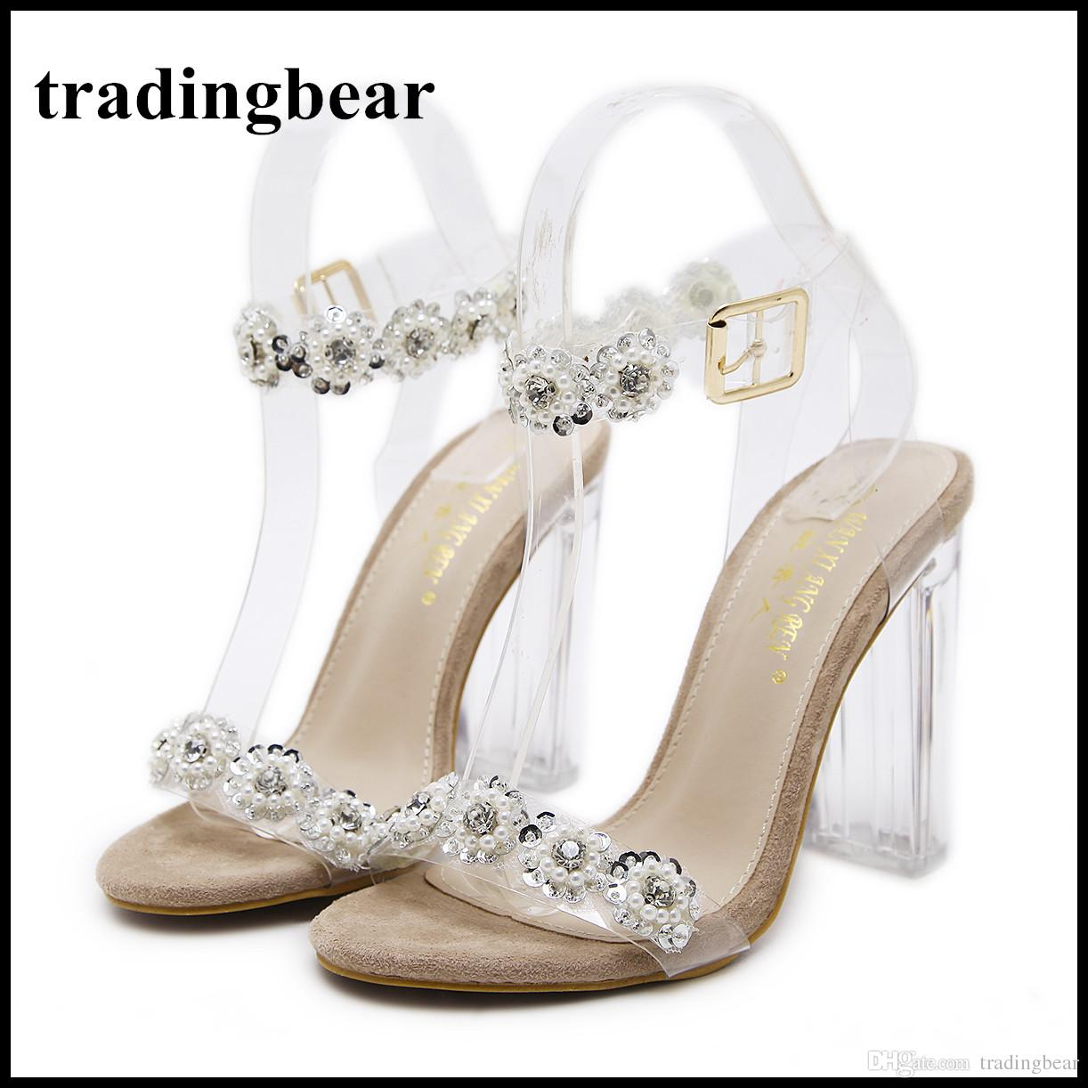 2018 Beaded Crystal Transparent Clear PVC Shoes Women High Heel Wedding Shoes Gold Silver