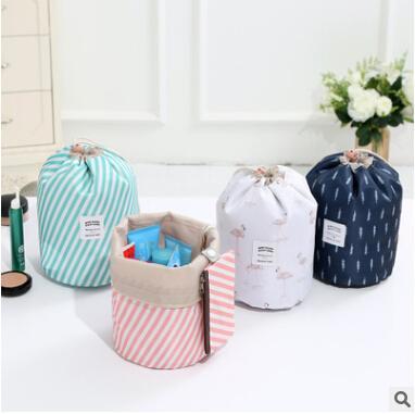 Travel Makeup Bag Barrel Shape Cosmetic Bags Hot Sale Creative Large Capacity Elegant Women Drawstring Storage Bag