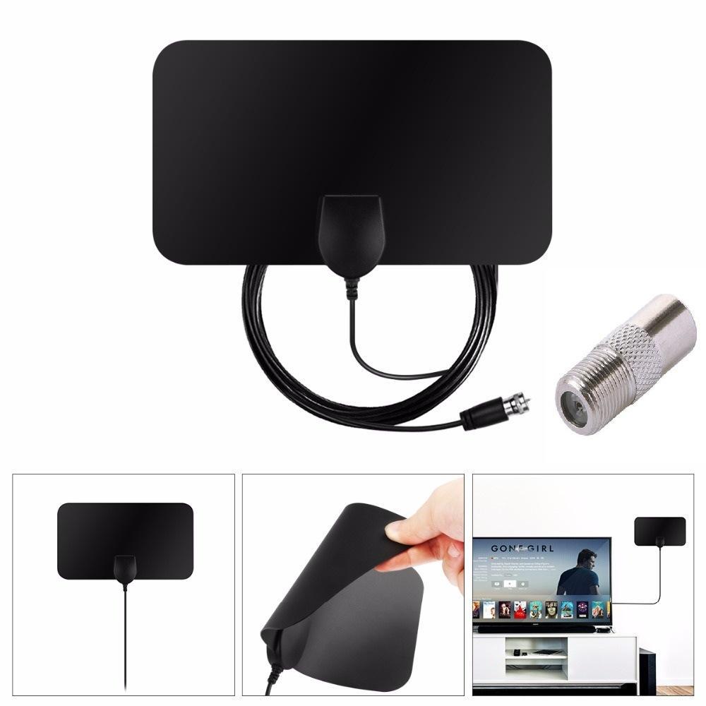 New Black 50 Mile VHF UHF HDTV 1080P Flat Indoor Digital TV Antenna Amplifier