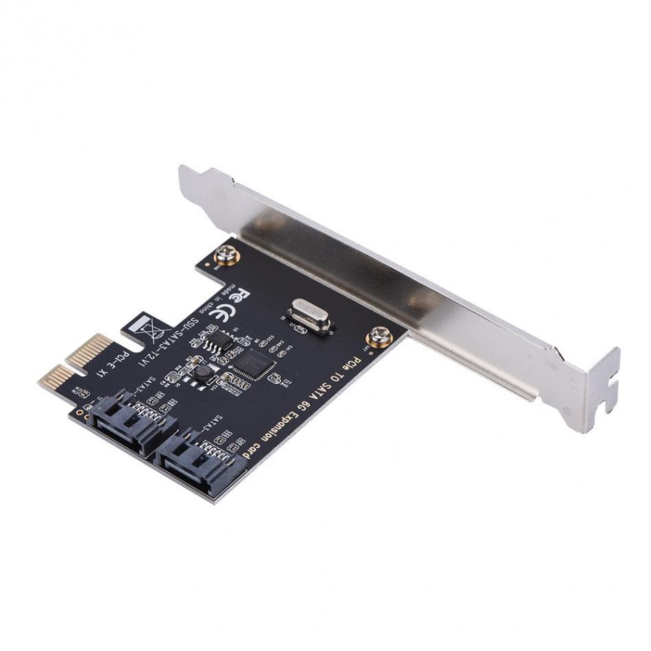 Freeshipping PCI-E PCI Express SATA 3.0 확장 카드 브래킷 2 포트 SATA III 6Gbps 확장 어댑터 보드 컴퓨터 섀시