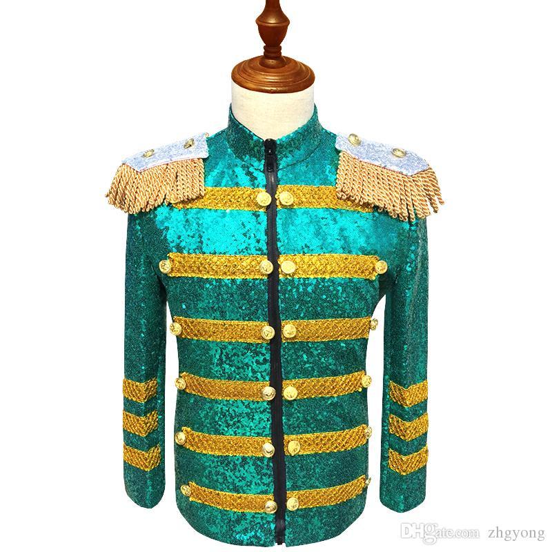 Hommes Vert Paillettes Veste Slim Manteau Haut de gamme Vêtements d'extérieur Costume De Bal Hôte Costume Bar Discothèque Homme Chanteur Chorus Performance Scène Outfit