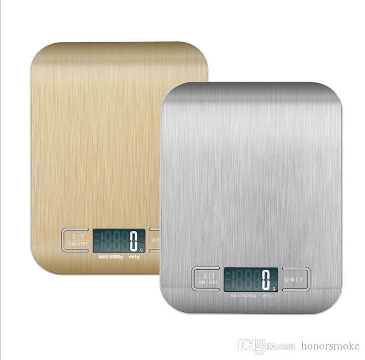 Nuovo arrivo bilancia da cucina cottura strumenti di misura da cucina in acciaio inox Peso elettronico tasca strumenti scala digitale LCD 5KG / 1G con confezione regalo
