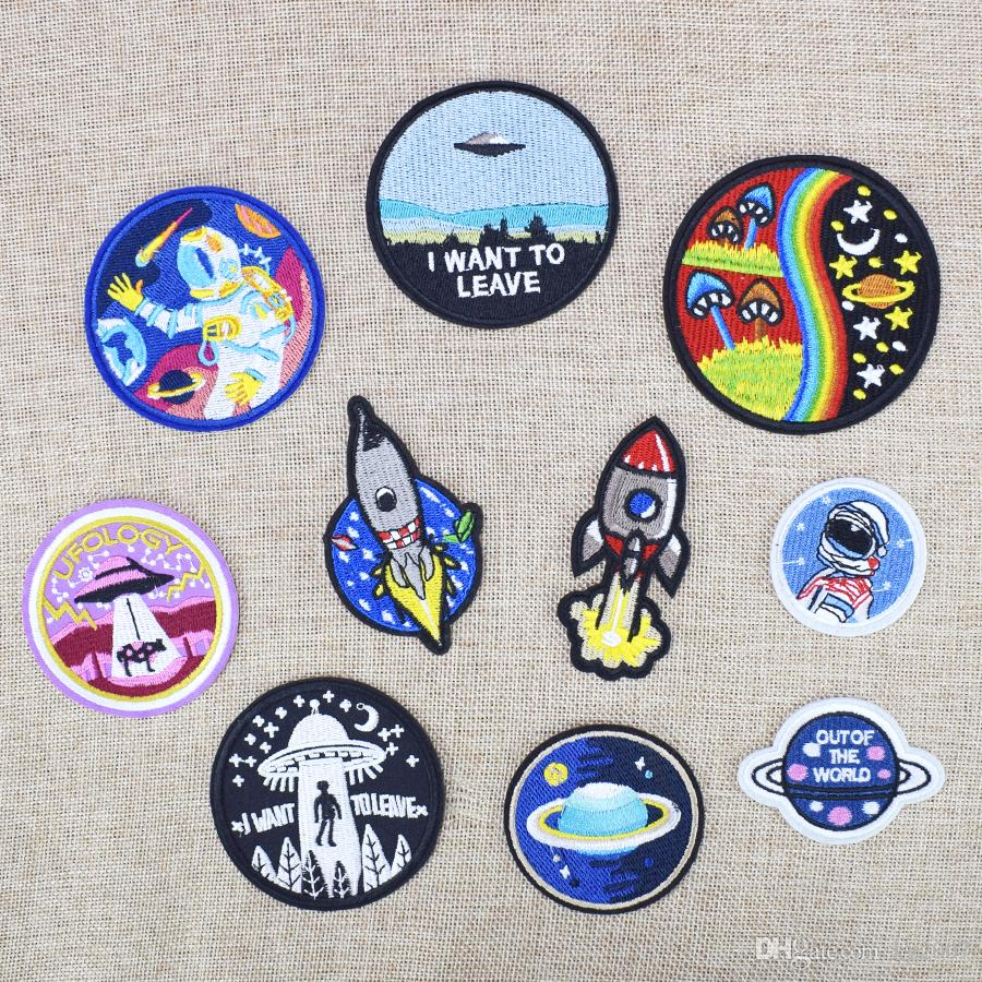 Space Embroidered Patches for Clothing Iron on Transfer Applique Universe Patch for Jacket Bags DIY Sew on Embroidery Kids Stickers 10 PCS