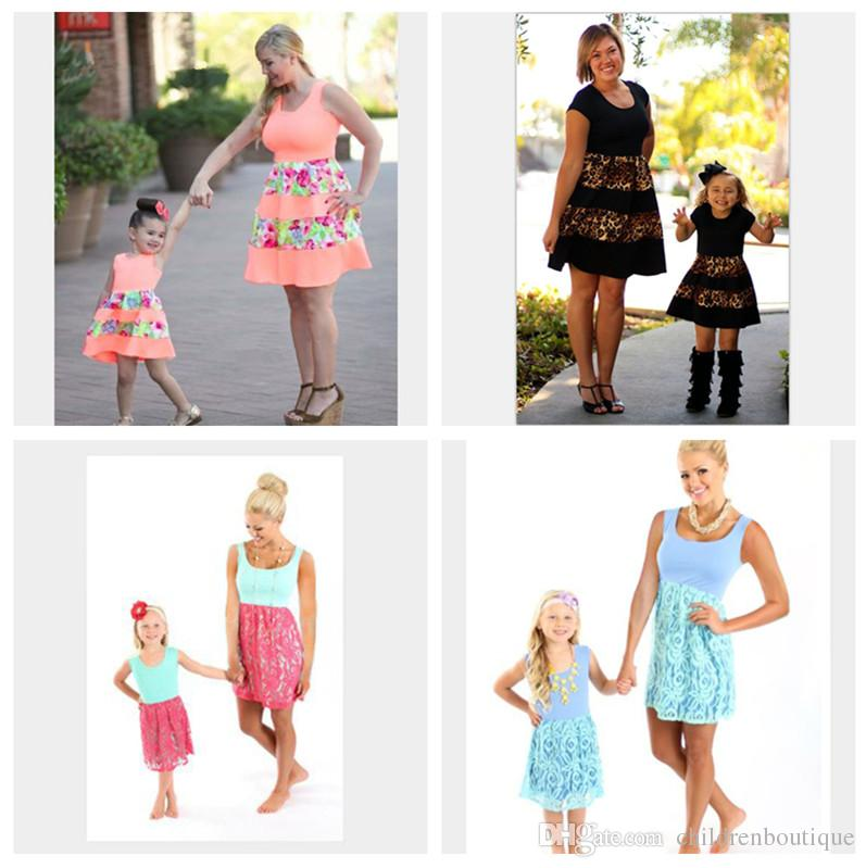 Mother and Daughter Floral Dress Clothes Parent-child Family Matching Outfits