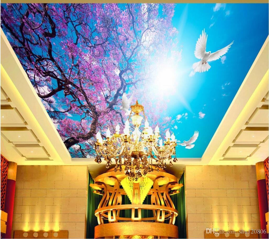 3d wall murals wallpaper for walls 3 d ceiling murals wallpaper custom photo Cherry blossom blue sky white dove sunshine home decoration