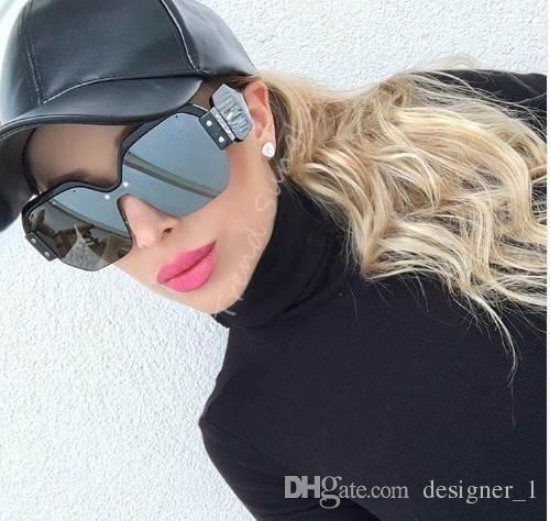 Señoras gafas de sol de gran tamaño una juntan las piezas del espejo gafas de sol de las mujeres Gafas de sol sin montura Mujer Gafas de Sol