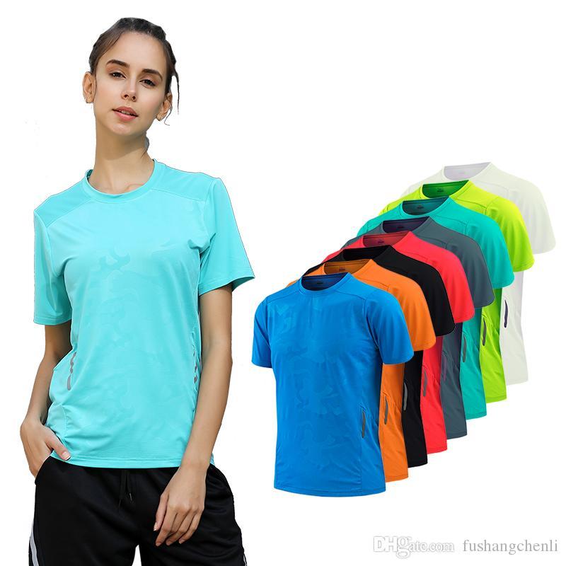 T-Shirt Kadınlar Çabuk Kuru Nefes Spor Üst Yoga Gym Fitness Giyim Spor kadın T Shirt Koşu Eğitim Egzersiz Için