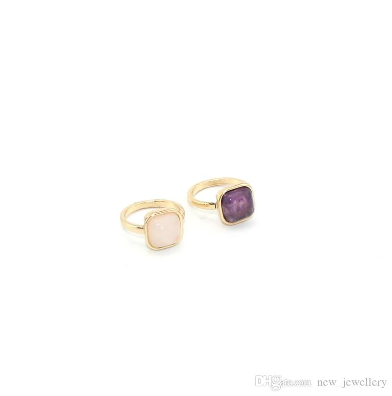 Fashion gold color square natural stone amethyst pink crystal ring for women jewelry