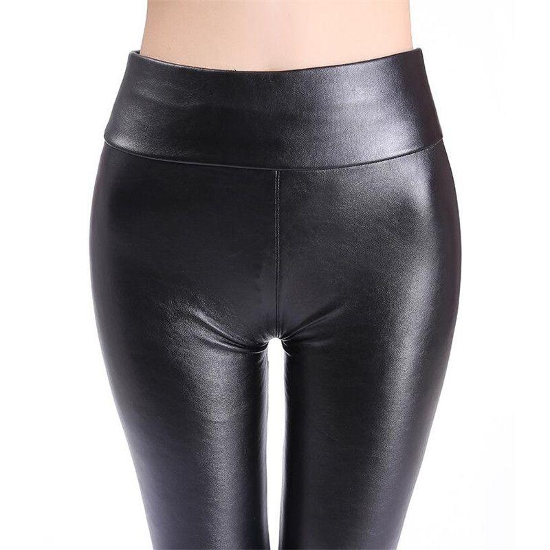 Russia Women PU Leather Pants Elastic High Waist slim Plus velvet warm black bright PU synthetic leather Trousers Skinny Pants Leggings